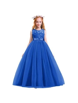 Girls Dress 4-13 Years Kids Flower Party Cold Shoulder Maxi Chiffon Clothing