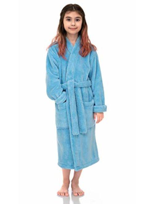 TowelSelections Girls Robe, Kids Plush Kimono Fleece Bathrobe