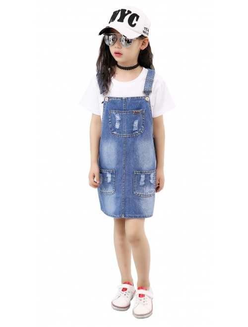 Kidscool Girls Big Bibs Small Flowers Decor Summer Jeans Overalls Dress