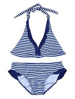 Freebily 2PCS Swimsuit Girls Tankini Swimwear Halter Tops with Bottoms
