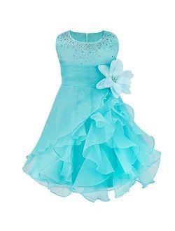 iiniim Baby Girls Organza Tutu Princess Birthday Party Baptism Flower Girl Dress