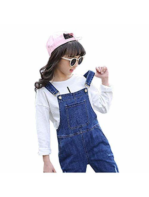 Digirlsor Girls Overalls Little Big Kids Distressed Denim Bib Pants Ripped Blue Jeans Romper Jumpsuit, 3-12Y