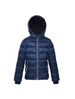 Rokka&Rolla Boys' Water-Resistant Hooded Heavy Padded Coat Thickened Quilted Lined Parka Anorak Puffer Jacket