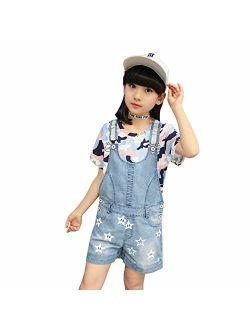 Digirlsor Girls Shortalls Toddler Kids Stars Print Denim Bib Overall Shorts Summer Romper Jumpsuit, 4-12 Years