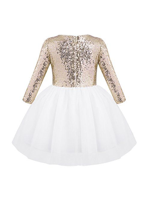 CHICTRY Flower Girls Dresses Toddlers Birthday Party Vintage Sequin Princess Tutu Dance Ball Gown