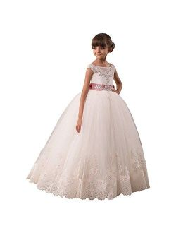 Flower Girls Dresses Long Vintage Lace First Communion Pageant Ball Gowns