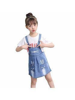 Digirlsor Kids Girls Denim Overall Dress Cute Shortalls Jeans Skirt Bib Overalls Romper, 3-12 Years