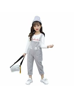 Digirlsor Toddler Kids Girls Adjustable Straps Bib Overalls Denim Long Jeans Pants Romper Jumpsuit, 3-12 Years