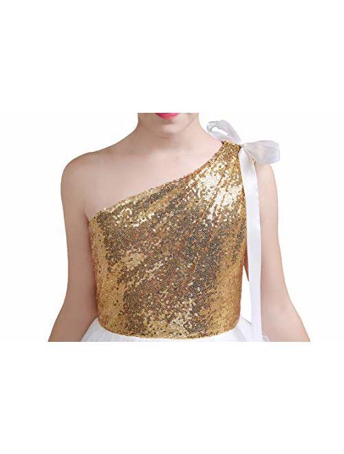 fairy Girl Junior Bridesmaid Dresses Sequines Flower Girl Dresses Tulle for Wedding Party Pageant Aline Floor Length