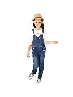 Digirlsor Kids Girls Denim Overalls Adjustable Straps Romper Jumpsuit Boyfriend Bib Jeans Long Pants, 3-12 Years