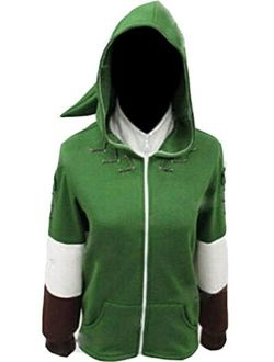 Ya-cos Link Cosplay Hooded Hyrule Warriors Zipper Coat Jacket Green