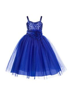 Wedding Pageant Sequin Flower Girl Dress Tulle Toddler Summer Easter Holiday Princess Gown B-1508NF