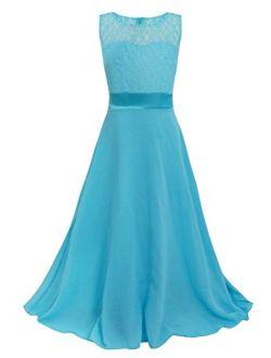 FEESHOW Kids Big Girls Lace Flower Chiffon Junior Bridesmaid Long Dress Wedding Party Maxi Gown