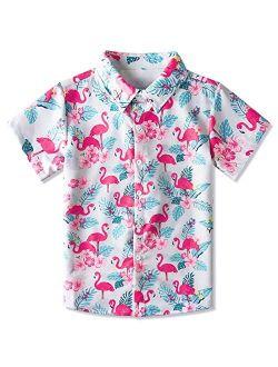 Enlifety Boys Girls Button Down Shirt Print Short Sleeve Tops Size 2-14T