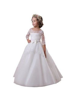 Carat Flower Girl Dress White Communion Lace Tulle Ball Gown