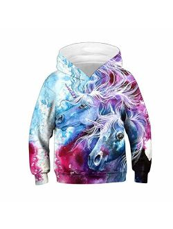 Ainuno Womens Girls Unicorn Hoodie Pullover Sweatshirt,Cute Teen Girls Hoodies Kids Jacket