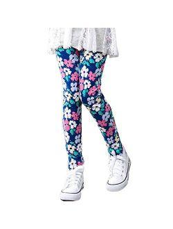 TLoowy Girls Leggings, Comfy Children Trousers Leggings Floral Print Toddler Kids Baby Girls Pencil Pants