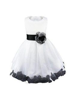 iiniim Girls Petals Tulle Princess Wedding Pageant Party Flower Girl