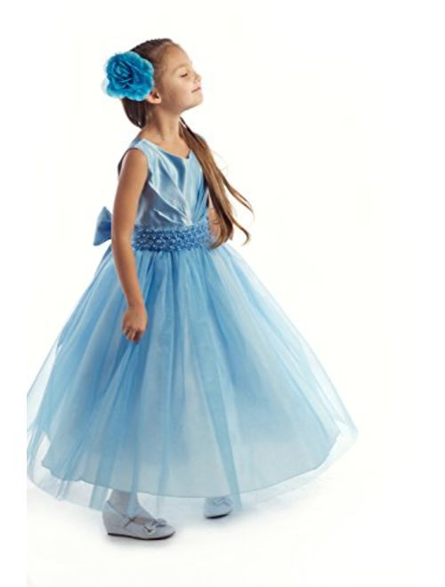Joy Kids Girls Pleated Satin Pearl Special Occasion Flower Girl Dress 2 to 20