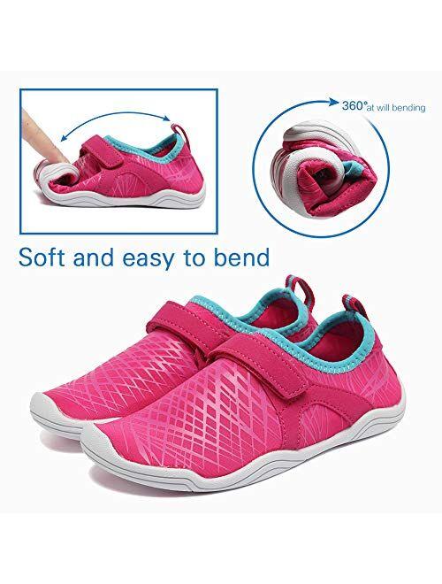 Fantiny Boys & Girls Water Shoes Lightweight Comfort Sole Easy Walking Athletic Slip on Aqua Sock(Toddler/Little Kid/Big Kid)