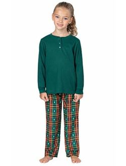 PajamaGram Big Girls' Flannel Classic Plaid Pajamas with Long-Sleeved Top