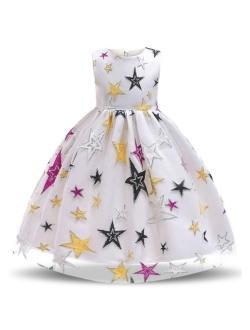 Girl Flower Printed Cotton Elegant Tulle Bow Belt Princess Dress