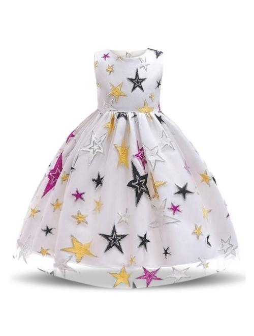 NNJXD Girl Flower Printed Cotton Elegant Tulle Bow Belt Princess Dress