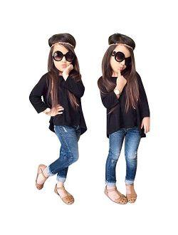 TiTCool Toddler Girls Outfit Fashion Pant Set Clothes T-Shirt Tops+Jeans Pants 2Pcs