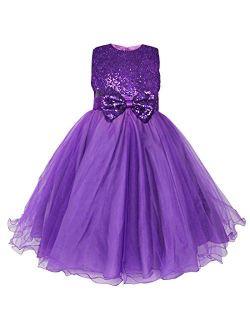 iEFiEL Girls Sequin Bowknot Princess Dance Ball Wedding Party Flower Dress