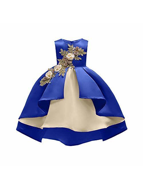 AIMJCHLD 2-9 Years Flower Girls Dress Wedding Bridesmaid Formal Midi Dresses