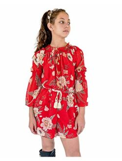 Smukke, Big Girls Gorgeous Floral Printed Long Sleeves Romper with Pockets (with Options), 7-16
