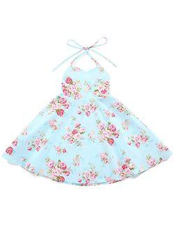 Flofallzique Floral Girls Party Dress Summer Vintage Casual Toddler Boho Dress Sleeveless