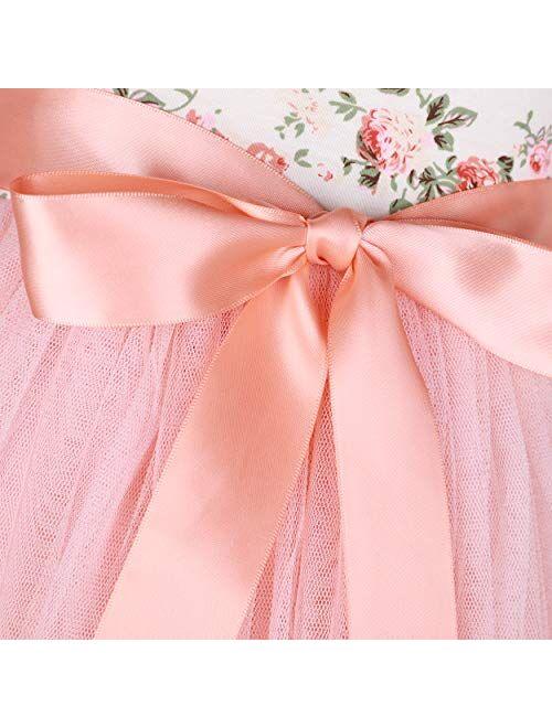 Flofallzique Floral Girls Party Dress Long Sleeves Tulle Spring Toddler Valentine Dress