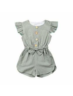 Toddler Kids Baby Girl Flutter Sleeve Short Romper Jumpsuit Botton Down Shirt Tops with Bowknot