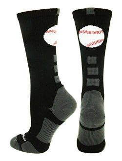 MadSportsStuff Baseball Logo Athletic Crew Socks (Multiple Colors)
