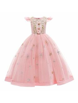 Flower Girls Maxi Dress Bridesmaid Wedding Pageant Party Princess Communion Floral Boho Vintage Lace Dance Gown