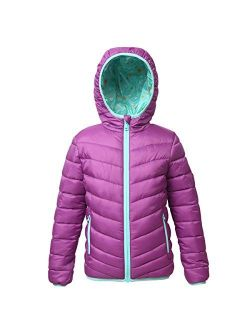Rokka&Rolla Girls' Lightweight Reversible Water Resistant Hooded Quilted Poly Padded Puffer Jacket