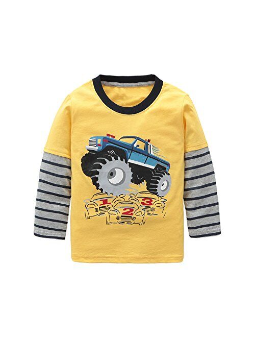 HowJoJo Big Boys Long Sleeve Cotton T-Shirts Monster Truck Shirt Graphic Tees Yellow 7T