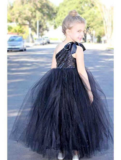 ekidsbridal One-Shoulder Sequin Tutu Flower Girl Dress Wedding Pageant Dresses Ball Gown Tutu Dresses 182