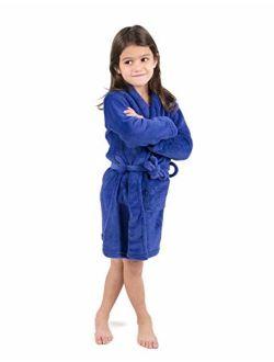 Kids Robe Boys Girls Shawl Collar Fleece Sleep Robe Size 4-14 Years Variety Of Colors