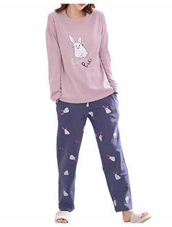 Vopmocld Big Girls' Funny Pajama Sets Winter Long Sleeve Sleepwear Cute Rabbits Loungewear