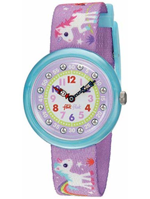 Flik Flak Kids' Sunny Hours Quartz Polyester Strap, Purple, 14 Casual Watch (Model: ZFBNP033)