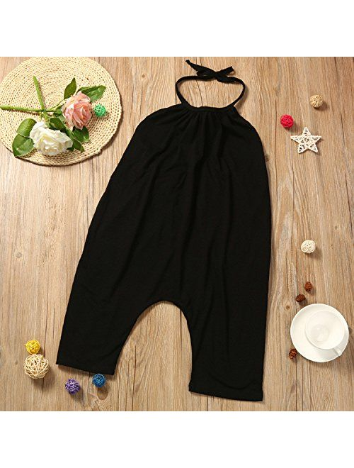 Toddler Kids Baby Girls Summer Jumpsuits Cute Backless Harem Straps Rompers Jumpsuit Pants