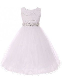 Glitter Rhinestone Shiny Tulle Beaded Sequin Easter Embellished Flowers Girls Dresses