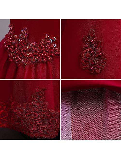 IBTOM CASTLE Little Big Girl Flower Tulle Dress Princess Pageant Birthday Party Wedding Formal Floor Long Dance Evening Maxi Gown