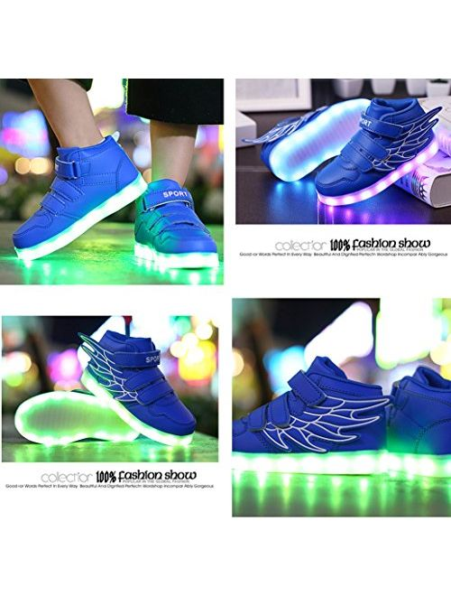 Gaorui Kid boy Girl LED Light up Sneaker Athletic Wings Shoe High Student Dance Boot USB Charge