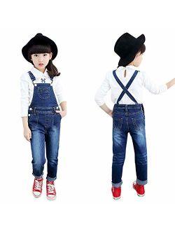 Digirlsor Toddler Little & Big Kids Girls Denim Overalls Cotton Suspender Bib Jeans Pants Romper Jumpsuit,3-15Y