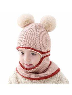 Baby Boys Girls Winter Hats Warm Cozy Knitted Scarf Earflap Beanie Fleece Lining Caps