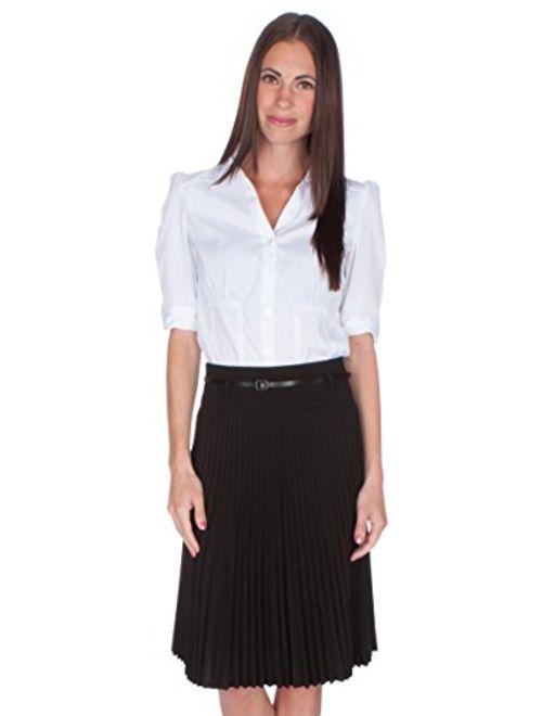 Sakkas Knee Length Pleated A-Line Skirt with Skinny Belt