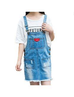 Oushiny Girls' Ripped Denim Overall Dress for 2-12